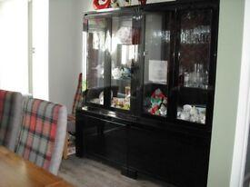 Black gloss display cabinets