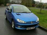 06 REG PEUGEOT 206 1.4 VERVE 3 DOOR HATCHBACK IN METALLIC BLUE HPI CLEAR