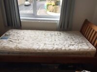 Bed single good quality pine bed with mattress
