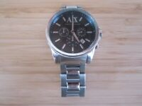 Armani Exchange Chronograph Silver Stainless Steel Bracelet AX2084 Mens Watch - will need a battery