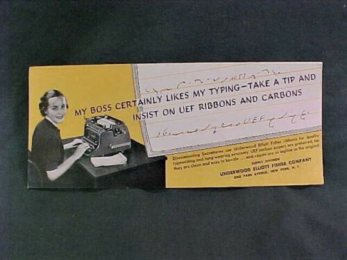 """VINTAGE ADVERTISING INK BLOTTER for UEF RIBBONS and CARBONS 3-1/2"""" X 8-1/2"""""""