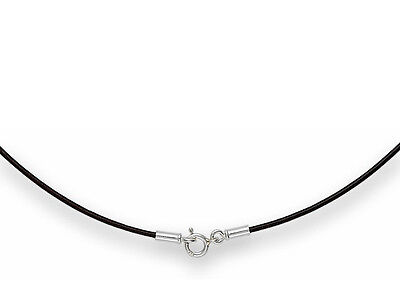 1mm Black Leather Cord Necklace Choker 925 Sterling Silver Clasp 14