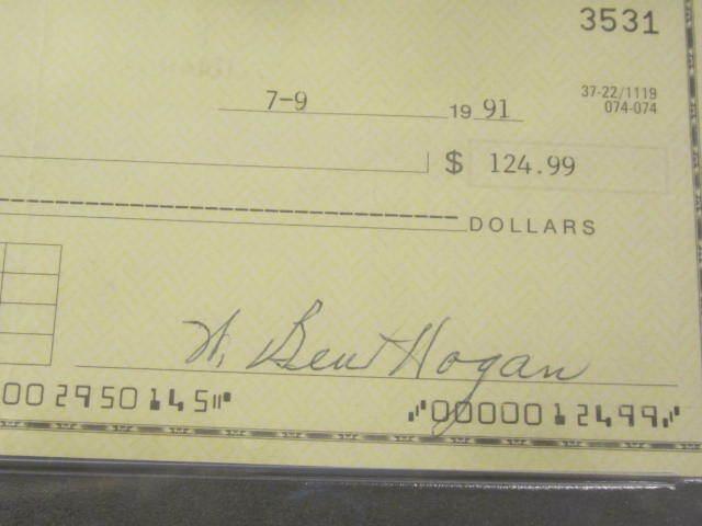 Ben Hogan Professional PGA Golfer Autographed 1991 Bank Check PSA SLABBED