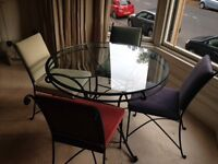 Vintage M&S glass & wrought iron table & chairs, quick sale