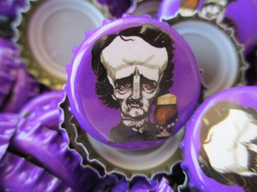100 Poe ((( Purple ))) Raven Brewing Beer Bottle Caps (No Dents). Free Shipping