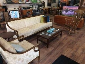 Antique Cream Couch-Wood Arms