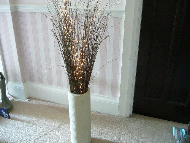 Twig Lamp decorative electric tall twig lights in long cream vase / floor