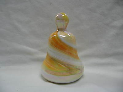 Bell Shape Glass Paperweight Peach Color Swirl 1976