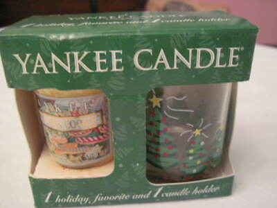 Yankee Candle Christmas Tree Votive Holder + 1 Christmas Cookie Votive NIB 2003