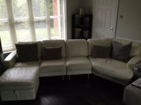 Reduced for quick sale: Italian ivory leather corner sofa,chair,ottoman
