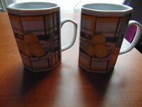 Pair of Unusual Hexagonal Mugs