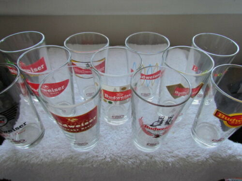 LOT of 11 BUDWEISER RETRO PINT COLLECTOR SERIES BEER Glasses