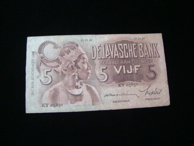 Netherlands Indies 1934 5 Gulden Banknote Fine Pick#78a