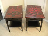 Funky Pair of Deep Red, Black CELTIC End Tables