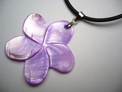 Mother of Pearl Flower Pendant w/ 2mm Rubber Cord Necklace 17