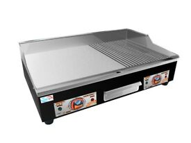 Electric Griddle - 73 cm - ribbed - 2 x 3200 W Commercial