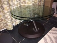 Sterling glass top coffee table, opens up to almost twice size