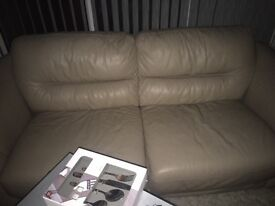 Cream leather settee & chair
