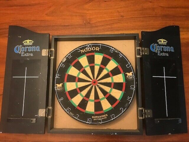 Corona Beer Extra Dart Board Wooden Black *Used* LOCAL PICKUP ONLY