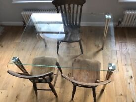Modern Glass Dining Table; Seats 4-6