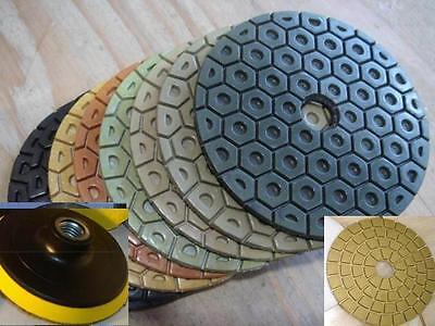 Wet Dry Diamond Polishing Pads 5 Inch Set Kit For Granite Concrete Marble Glass