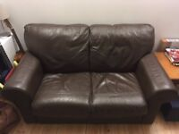 2/3 seater brown leather sofa