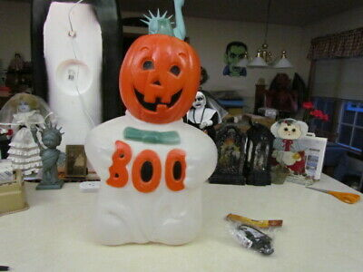 """T.P.I. 24 Inch Halloween Lighted Pumpkin Head Ghost """"Boo"""" Blow Mold w/New Cord"""
