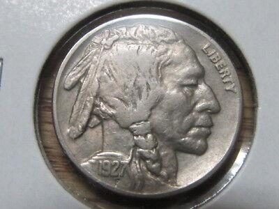 Scarce AU+ 1927-D Buffalo nickel ... very tough to find ( rde )