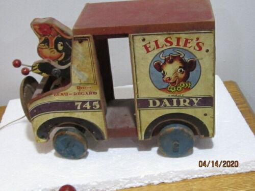 WOODEN BORDENS ELSIES DAIRY WAGON  PULL TOY BEAU-REGARD DRIVER,