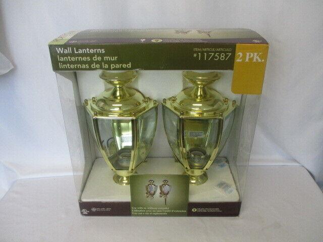 Portfolio, Twin Pack  Wall Lanterns, Polished Brass Finish  Clear Glass NIB