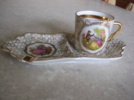 RARE LIMOGES SMALL COFFEE CUP ON SHAPED TRAY
