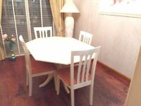 Morris Furniture Extending Dining Table, 4 Chairs and 3 Draw Glass Display Cabinet