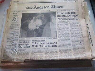 La Times 12 11 80 John Lennon Murdered