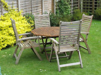 Hardwood Octagonal Garden Table With 4 Hardwood Reclining Chairs