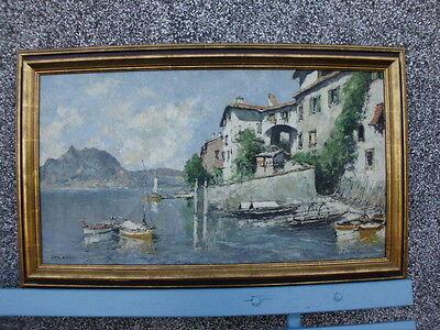 Otto Hellmeier (1908-1996)-südländisches Ölgemälde Gandria (Schweiz) Luganer See