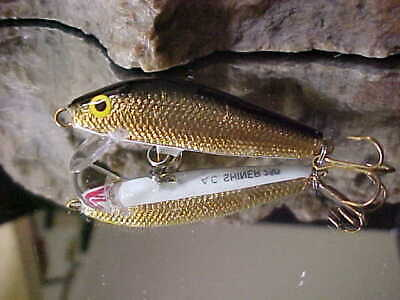 """AC Model 250 Shiner 2 1/2"""" Wood Shallow Minnow Freshwater in GOLD/BLACK BACK for sale  Rome"""