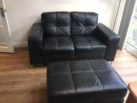 Black Leather 2 seater Violini sofa plus matching storage footstool