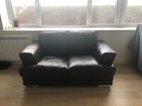 2x Dark brown (2seater) leather sofas with silver metal legs for sale - Great condition!