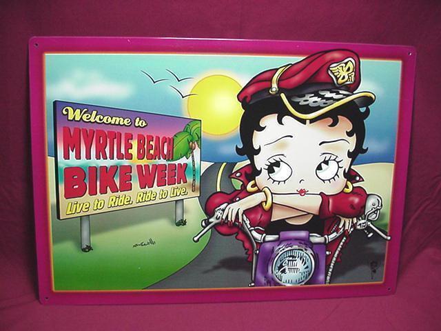 BETTY BOOP TIN SIGN WELCOME TO MYRTLE BEACH BIKE WEEK DESIGN