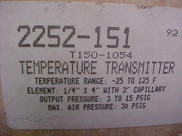 * RobertShaw Temperature Transmitter T150-1054 ...  ZD-28