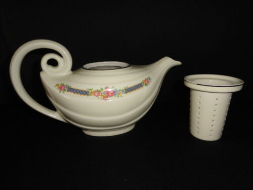 Vintage Hall China Blue Bouquet Aladdin Teapot with Infuser NO LID