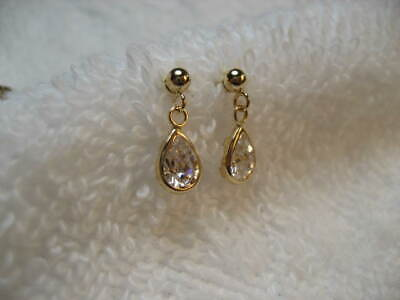 14K D Yellow Gold ZIRCON TEAR Pear Posted Dangle Earrings FREE SHIPPING!