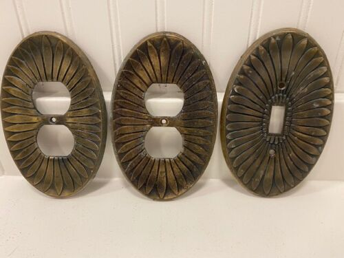Lot of 3 Vintage Brass Outlet Covers and Switch Plate Oval