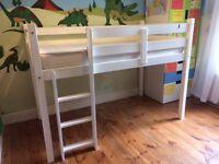 Child's cabin bed, white wood plus custom made mattress - short length, full single width