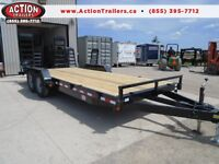 FLAT BED 14,000LB LOW EQUIPMENT TRAILER - 7 X 20' LOW PRICE