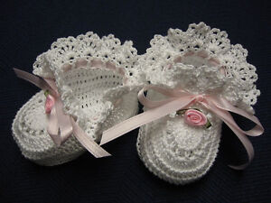 Crochet Baby Booties White with Pink Rose Baby Girl