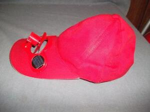 Baseball Hats With Solar Power Fans NEW Red