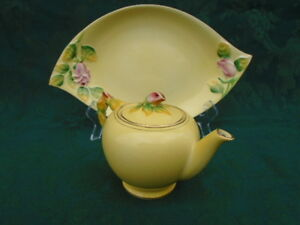 Royal Winton Yellow Rosebud Tray and Teapot