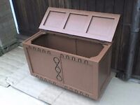 Large tough Wooden Storage Box with hinged Lid - Heathrow