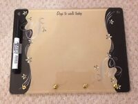 Gold/Tan Dog Walking Glass Dry Erase Board with Keyrings & Pen